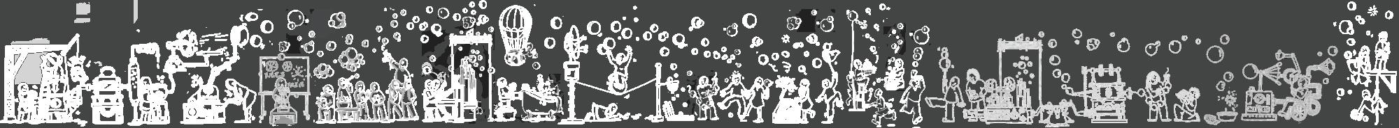 Bandeau dessin bulles gens et machines
